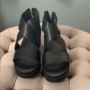 Steven by Steve Madden Black Wedge Platform Sandal